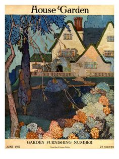 The hues of summer are on full display in this cover illustration by Porter Woodruff for the June 1917 House & Garden.