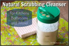 This homemade cleaning powder is a great scrubbing cleanser for tubs, tiles, grout, sinks, toilets and more. It's also all-natural and very inexpensive!