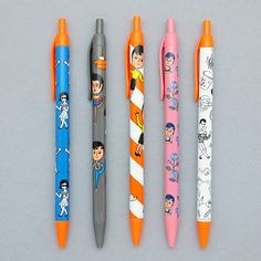 Funny illustration black ballpoint pen by Oohlala. The Funny pen is black pen featuring cute and funny illustrations printed to each style. Stabilo Boss, Kawaii Stationery, Writing Pens, Funny Illustration, Ballpoint Pen, Retro Fashion, Cool Style, Prints, Stationary