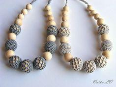 ON SALE Grey gray nursing necklace crochet teething by NatkaLV