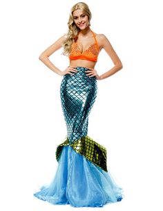 Product Code: MHC0230028 Package included: bra and skirt Gender: Female Age Group: Adult Color:blue Pattern: mermaid Occassion: Halloween Party, Stage Material: Polyester Fiber 2016 the latest Hallowe