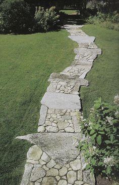 Mixed stone walkway