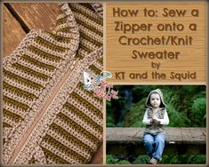 How to sew a zipper onto a knit/crochet sweater. KT and the Squid free tutorial.