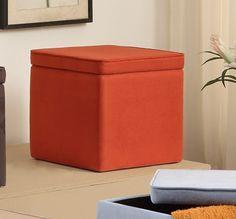 Coral Micro Fiber Fabric Upholstered Square Cube Storage Ottoman