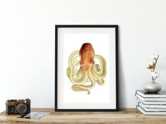 Octopus Painting, Octopus Wall Art, Nautical Wall Art, Vintage Nautical, Wall Art Decor, Wall Art Prints, Octopus Illustration, Coastal Art, Original Image