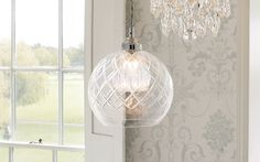 Gabby Glass Ceiling Pendant Light at Laura Ashley Laura Ashley Ceiling Lights, Ceiling Lights Uk, Hall Lighting, Bedroom Lighting, Chandelier Lighting, Glass Pendant Light, Ceiling Pendant, Glass Ceiling, Scandi Bedroom
