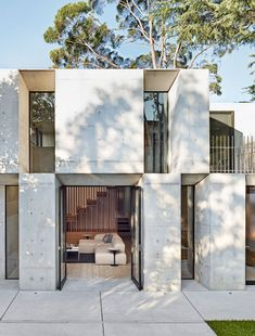 The Design Files - A Stacked Concrete House. Australian Architecture, Australian Homes, Modern Exterior, Exterior Design, Studios Architecture, House Architecture, Design Living Room, Design Bedroom, Concrete Houses