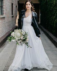 The Penelope dress styled just right. Indie Wedding Dress, Bohemian Wedding Dresses, Elegant Wedding Dress, Bridal Dresses, Wedding Gowns, Sophisticated Bride, Chantilly Lace, Chiffon Skirt, Lace Bodice