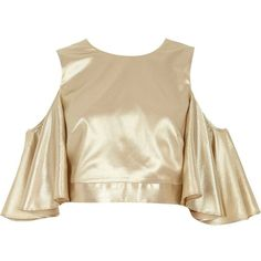 River Island Cream metallic cold shoulder frill sleeve top ($37) ❤ liked on Polyvore featuring tops, cream, cut shoulder tops, metallic crop top, cold shoulder tops, cut-out crop tops and crop top