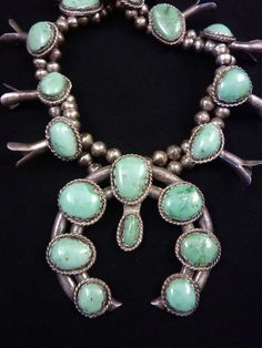 219g Vintage Navajo Sterling Silver Squash Blossom Necklace w Dreamy Soft-Green Carico Lake Turquoise! Large Classic Beauty!