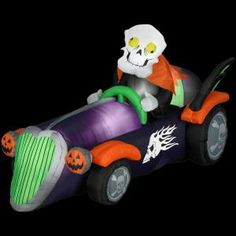 gemmy 75 ft long inflatable halloween skelly racer - Inflatable Halloween Yard Decorations