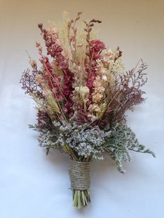 Fall bridal bouquet -Wedding - Dried Bridal Party Bouquets - Dried flowers - shabby chic wedding - bridal party - bridesmaid bouquet -