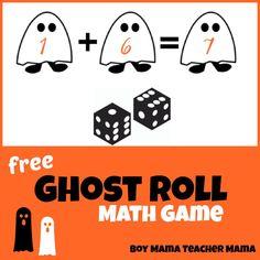 Boy Mama Teacher Mama   FREE Ghost Roll Math Game