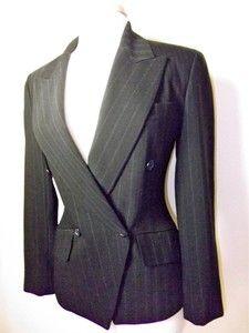 DKNY Donna Karan New York Pinstripe Blazer Suit Jacket Sz 2 Black Excellent   eBay $149.50