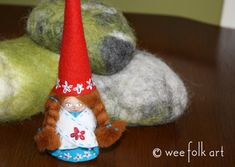 Festival Gnome :: Part 1 | Wee Folk Art...Britta is wearing her Festival Dress, in red and aqua, with pretty flowers everywhere. You can make your own Festival Gnome. Directions are in 2 parts. Here is Part 1.