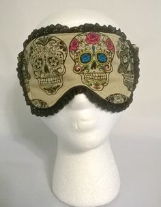 Sugar Skull / Calavera Sleep Mask, spa mask, eye sleep mask, travel mask, beauty sleep, cotton, foldover elastic, fleece, flannel by KrissysCraftyKitsch on Etsy