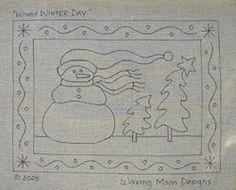Hand Drawn Rug Hooking Pattern: WINDY WINTER DAY 15x20