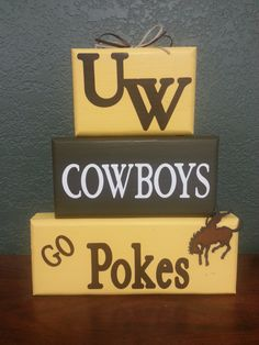 Wyoming Cowboys - Go Pokes - UW - College - Football - Volleyball - Wood Block Stack - Hand painted - Distressed by CountrySignature on Etsy