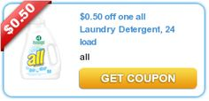 0.50 off one #all Laundry Detergent, 24 load -- Hold onto this for a sale and score an awesome deal!