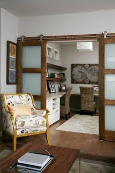 Home office creative space on pinterest home offices for Barn doors for home office