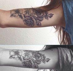 Roses on the inner upper arm