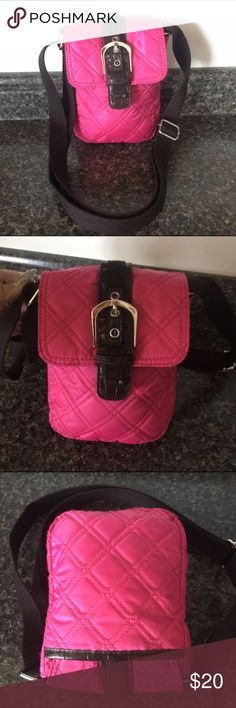 PUFFER QUILTED NYLON CROSS BODY In Hot Pink  Brown Practically Unworn! Perfect Size for all your necessities 💕 Measurements: 8 in. X 5.5 in. With a Strap Drop Up to 23 in. NYLON Bags Crossbody Bags