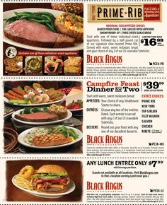 Black angus coupons campfire feast for two