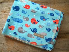Extra Large Whale Flannel Receiving Blanket by yeSweetheart