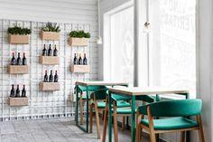 Spanish design studio Masquespacio have recently completed the branding and interior design for Vino Veritas, a restaurant located in Oslo, Norway.