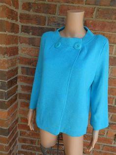 ELLEN TRACY For BLOOMINGDALES'S Size M Sweater Jacket Top Viscose Blend Pockets #EllenTracy #Cardigan