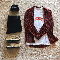 """Outfitgrid™ on Instagram: """"Today's top #outfitgrid is by @_abel1kenobi94. ▫️ #Supreme #Hat & #CDG #Tee ▫️ #Nike #AirMax97 ▫️ #Levis #Denim ▫️ #ClubRoom #Flannel"""""""