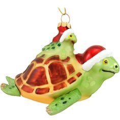 Sea Turtles With Santa Hats Glass Ornament