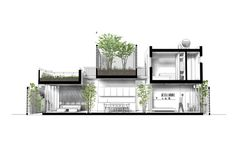 Gallery of VH House / ODDO architects - 27 Sustainable Architecture, Contemporary Architecture, Architecture Design, Architecture Mapping, Hanoi, Coupes Architecture, High Building, Architectural Section, 3d Home