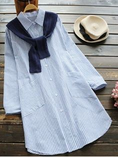 Shop for Slit Striped Shirt Dress with Removable Capelet LIGHT BLUE: Casual Dresses ONE SIZE at ZAFUL. Only $22.50 and free shipping!