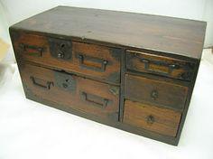 Vintage Wooden Calligraphy Box Japanese Circa 1890s