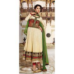 Captivating Off White Chiffon Salwar Kameez | High5Store.com
