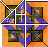 Celtic Sunrise quilt block pattern.
