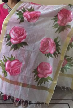 here is my new video of fabric painting on chanderi cotton dupatta . here i told u how to paint on big roses flowers. Plz let me know how the video i. Best Fabric Paint, Fabric Colour Painting, Fabric Paint Shirt, Fabric Painting On Clothes, Fabric Paint Designs, Hand Painted Fabric, Painted Clothes, Fabric Art, Hand Embroidery Videos