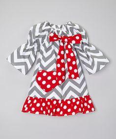 Love this Gray & Red Chevron Heart Valentine Dress - Toddler & Girls by Sweet Cheeks on #zulily! #zulilyfinds