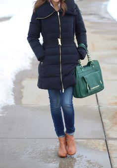 I need this kind of belted puffer coat for rainy days...