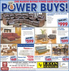 View Weekly Offerings And Advertisements Here Offered By Leon Furniture  Store In Phoenix, Glendale, Scottsdale, Mesa, Chandler And Tempe.