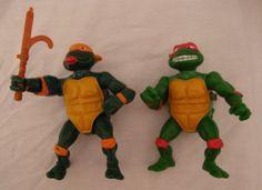 Teenage Mutant Ninja Turtles 1989 Vintage Action Figures Raphael & Michelangelo