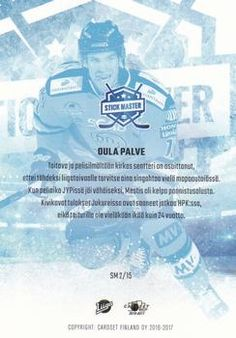 2016-17 Cardset Finland - Stick Master #SM2 Oula Palve Back