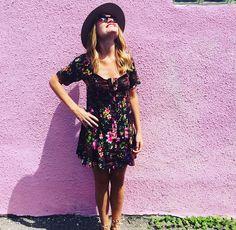 Flynn Skye Nyla Dress // short sleeve floral spunky dress // shop1975.com