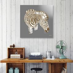 Discover «Graphic Zebra with Cheetah Fur Stripes», Numbered Edition Aluminum Print by Elaine Plesser - From $59 - Curioos