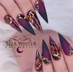 Best Acrylic Nails, Acrylic Nail Designs, Nail Art Designs, Nails Design, Best Nail Designs, Acrylic Set, Matte Black Nails, Black Nail Art, Gold Stiletto Nails