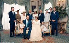 A portrait taken in the Morning Room at Clarence House shows the extended family including...