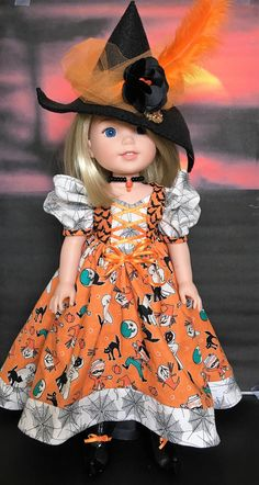 Halloween Witch Dress, shoes and hat PATTERN for Wellie Wishers Hallowen Costume, Halloween Doll, Cute Costumes, Doll Costume, American Doll Clothes, Girl Doll Clothes, Girl Dolls, American Dolls, Dolls Dolls