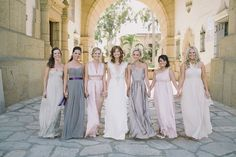 Pretty Color Palette for Bridesmaids | Wedding on SMP: http://www.stylemepretty.com/2013/11/26/montecito-california-wedding-from-stone-crandall  Photography: Stone Crandall