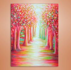 "Cherry Trees Road"" Original Acrylic Painting 18x24"" Pink White Yellow Green on Stretched Canvas"